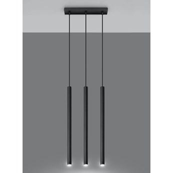 SOLLUX Lampa Wisząca Sufitowa Zwis Nad Stół Stolik PASTELO 3-PUNKTOWY CZARNY Minimalistyczne Oświetlenie Oprawa LED