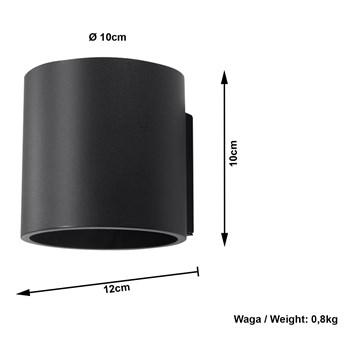 Sollux Lampa Kinkiet ORBIS 1 Czarny SL.0048 Oprawa Ścienna Idealna do Salonu Korytarza Minimalistyczne Oświetlenie G9 LED