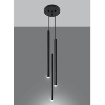 SOLLUX Nowoczesna Lampa Sufitowa PASTELO 3P Czarne Walce Zwis Sufitowy Minimalistyczne Oświetlenie Oprawa LED