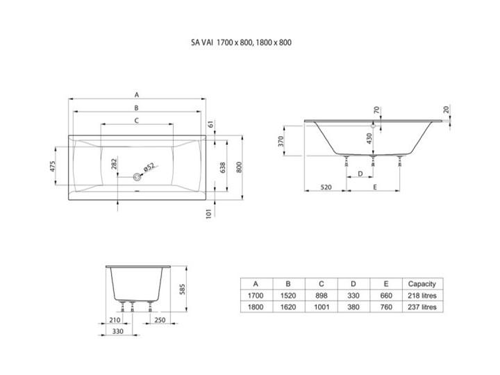 Roca Savai Slim wanna prostokątna 180x80 cm A248591000 Akryl Symetryczne Kategoria Wanny Kolor Biały