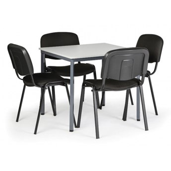 Stół do jadalni, szary 800 x 800 + 4 krzesła Viva czarne