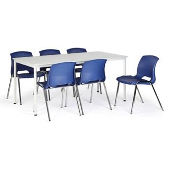 Stół do jadalni, szary 1800 x 800 + 6 krzeseł Cleo, niebieski