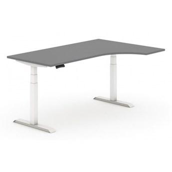 Stół z regulacją wysokości, elektryczny, 625-1275 mm, ergonomiczny prawy, grafit, blat 1800 x 1200 mm, biały stelaż