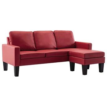 3-osobowa sofa z ekoskóry z podnóżkiem winna czerwień - Zuria 4Q