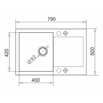 Zlewozmywak granitowy Pyramis MIDO 79x50 1B 1D Szary beton
