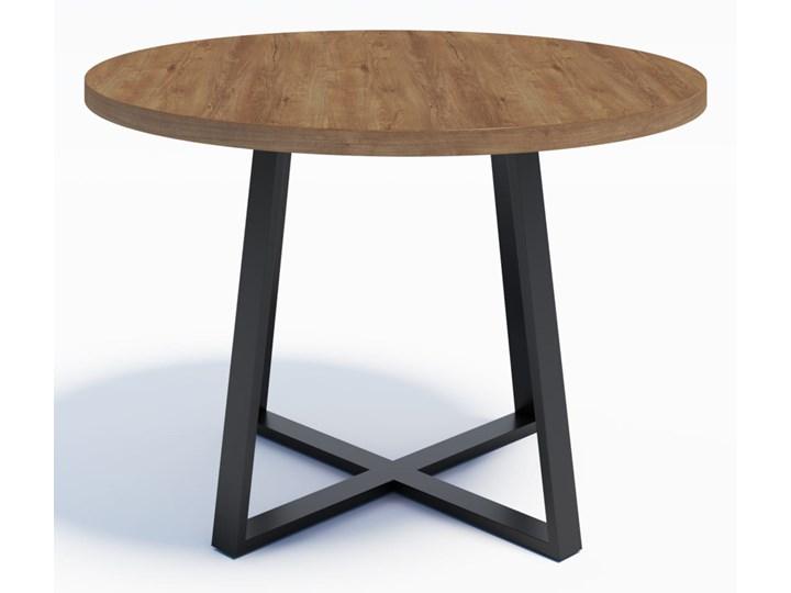 Industrialny stół okrągły RING X 110 Dąb Lefkas ciemny Wysokość 74 cm Drewno Metal Stal Długość 110 cm  Szerokość 110 cm Rozkładanie