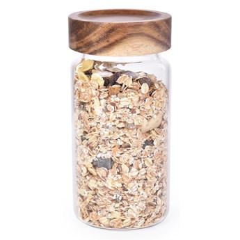 Szklany pojemnik z akacjową pokrywką ACACIA & BOROSIL GLASS GoEco® pojemność 580 ml