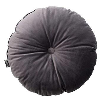 Poduszka okrągła Velvet z guzikiem, grafitowy szary, ⌀37 cm, Velvet