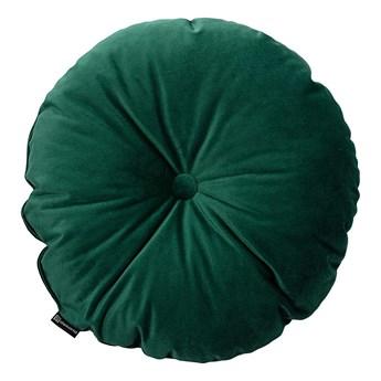 Poduszka okrągła Velvet z guzikiem, butelkowa zieleń, ⌀40 cm, Velvet