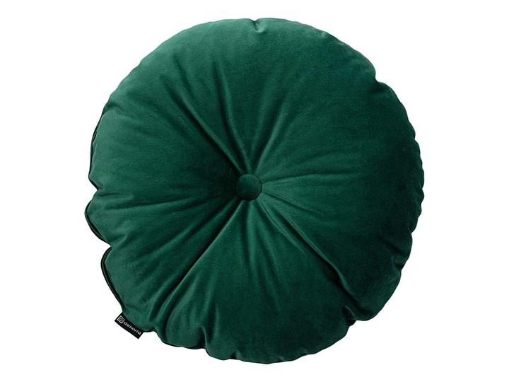 Poduszka okrągła Velvet z guzikiem, butelkowa zieleń, ⌀37 cm, Velvet