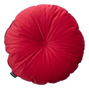 Poduszka okrągła Velvet z guzikiem, intensywna czerwień, ⌀37 cm, Velvet