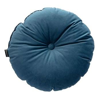 Poduszka okrągła Velvet z guzikiem, pruski błękit, ⌀37 cm, Velvet