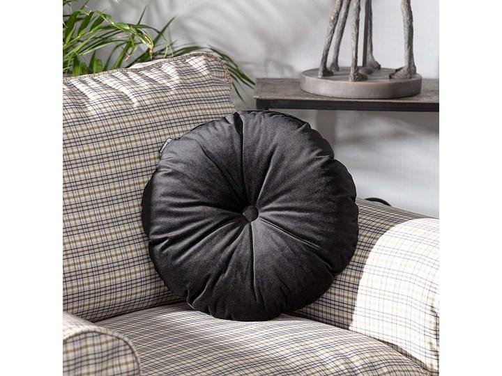 Poduszka okrągła Velvet z guzikiem, głęboka czerń, ⌀40 cm, Velvet Poliester Aksamit Poduszka dekoracyjna Okrągłe Pomieszczenie Salon