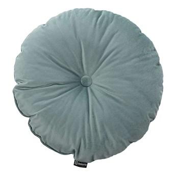 Poduszka okrągła Velvet z guzikiem, szara mięta, ⌀37 cm, Velvet