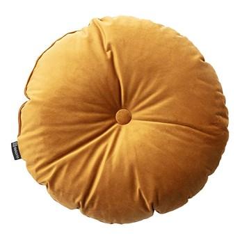 Poduszka okrągła Velvet z guzikiem, miodowy, ⌀40 cm, Velvet