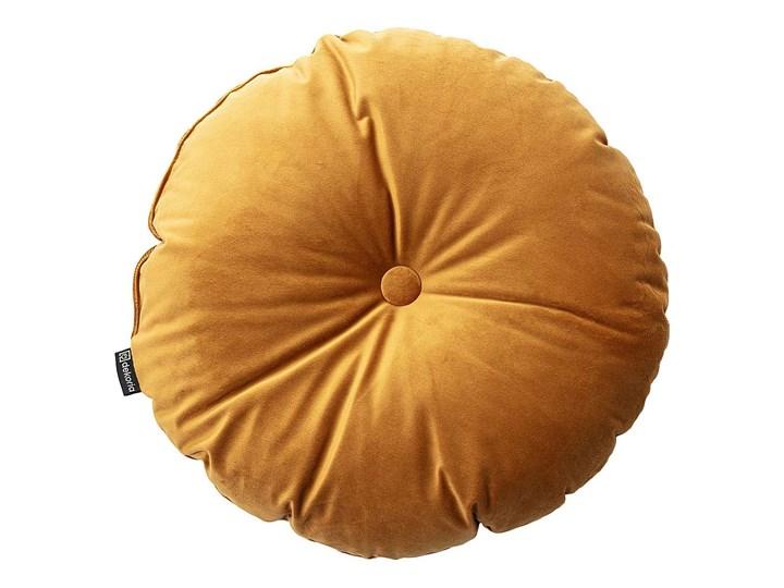 Poduszka okrągła Velvet z guzikiem, miodowy, ⌀37 cm, Velvet