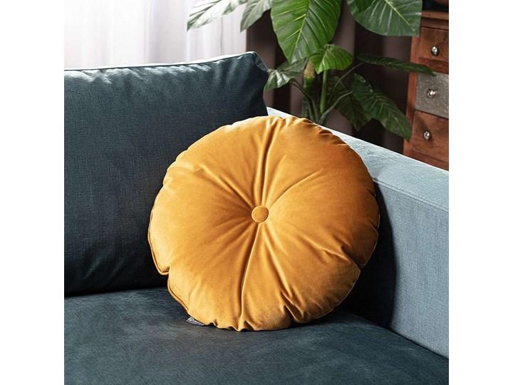 Poduszka okrągła Velvet z guzikiem, miodowy, ⌀40 cm, Velvet Aksamit Poliester Okrągłe Poduszka dekoracyjna Pomieszczenie Salon