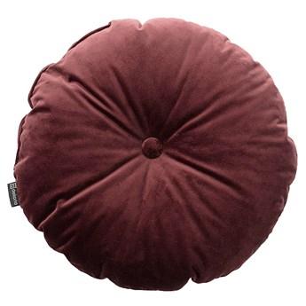 Poduszka okrągła Velvet z guzikiem, bordowy, ⌀37 cm, Velvet