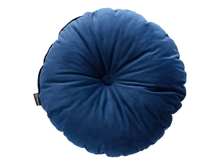 Poduszka okrągła Velvet z guzikiem, granat, ⌀40 cm, Velvet Aksamit Poduszka dekoracyjna Pomieszczenie Salon Okrągłe Poliester Pomieszczenie Sypialnia