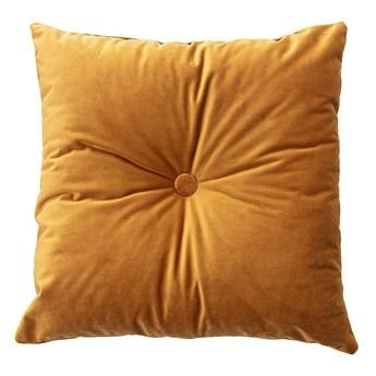 Poduszka kwadratowa Velvet z guzikiem, miodowy, 37 x 37cm, Velvet