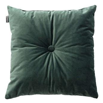 Poduszka kwadratowa Velvet z guzikiem, ciemny zielony, 37 x 37cm, Velvet