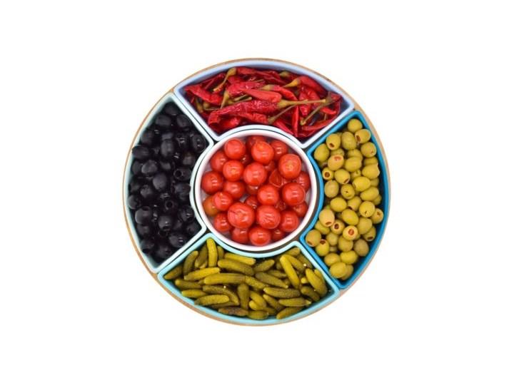 Zestaw do przystawek na obrotowej tacy DUKA WAREWOOD SCANDI porcelana Patera Okrągłe Kolor Kategoria Tace i patery
