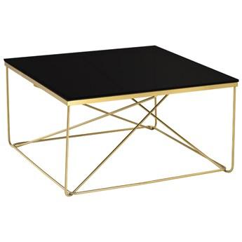 Kwadratowy stolik kawowy czarne szkło 80x43 cm C023