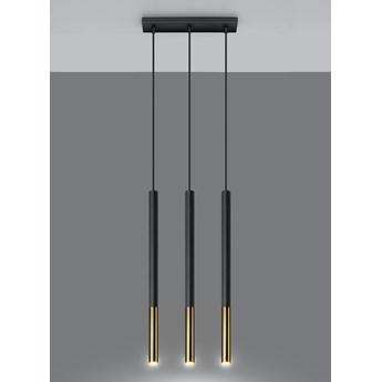 Lampa wisząca punktowa MOZAICA 3L czarny/złoty oprawa na sufit SOLLUX
