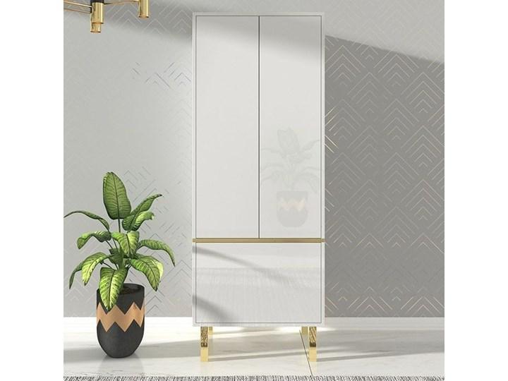 Elegancka biała szafa Dancan MAGICA ze złotymi dodatkami / wysoki połysk
