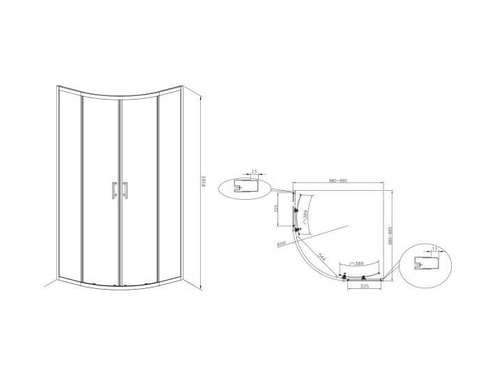 Roca Town Rondo kabina prysznicowa półokrągła 90 cm AMP2509012M Rodzaj drzwi Rozsuwane Narożna Wysokość 195 cm Kategoria Kabiny prysznicowe
