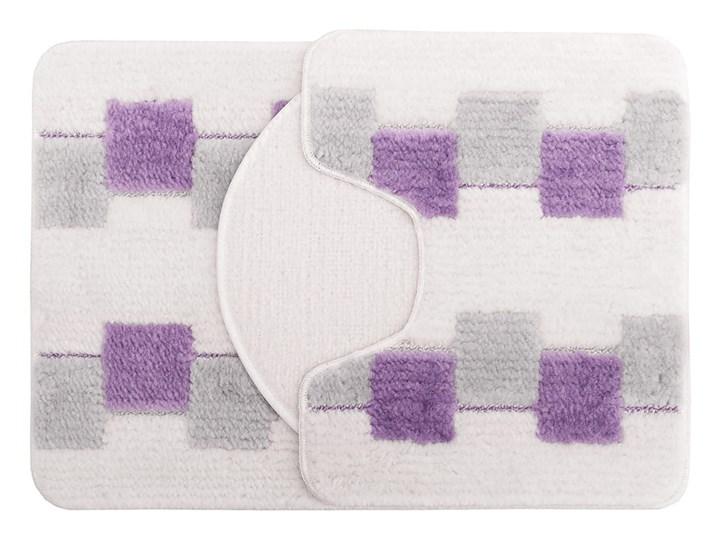 E-floor Komplet łazienkowy Harmony Ivory Fioletowe Kwadraty Kolor Fioletowy 47x51 cm Dywanik 50x70 cm Prostokątny 40x50 cm Kategoria Dywaniki łazienkowe