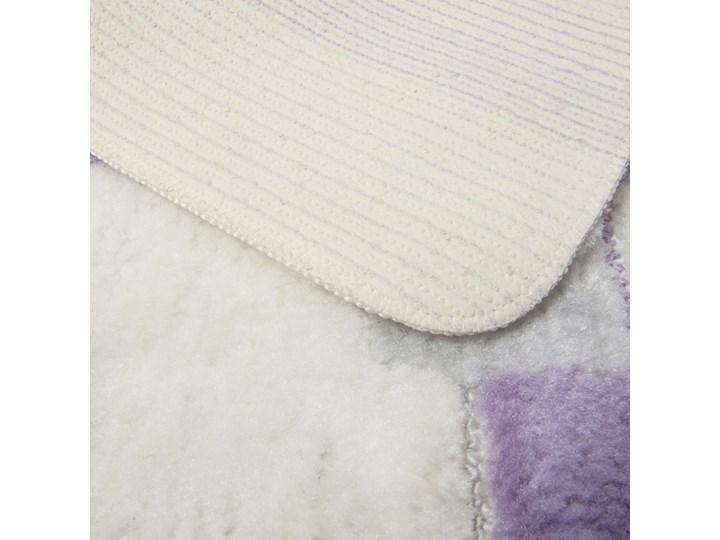 E-floor Komplet łazienkowy Harmony Ivory Fioletowe Kwadraty Prostokątny 40x50 cm 50x70 cm 47x51 cm Dywanik Kolor Fioletowy