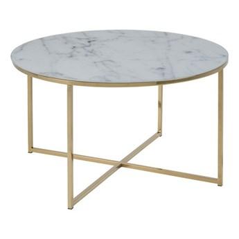 Okrągły stolik glamour Montreal 80 biały imitacja marmuru