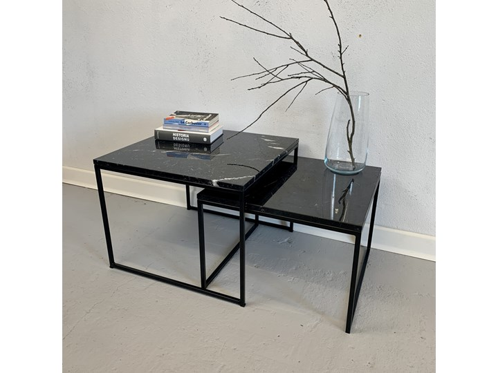 Stolik kawowy COSMO duo 2.0 blat marmur Nero Marquina Wysokość 55 cm Zestaw stolików Stal Styl Minimalistyczny Kategoria Stoliki i ławy