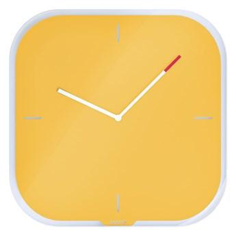 Żółty zegar ścienny z powierzchnią do pisania Leitz Cosy