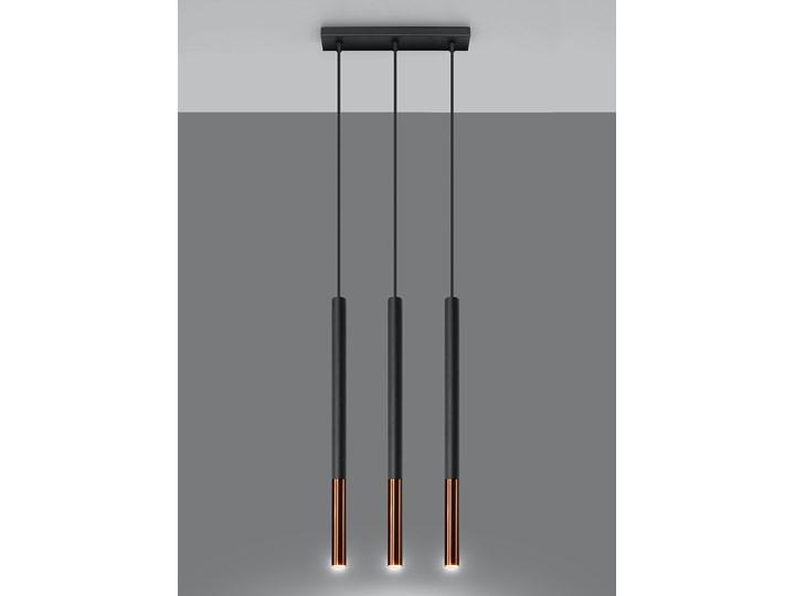 Atrakcyjna Lampa wisząca MOZAICA 3L czarny/miedź oprawa na sufit G9 zwis na lince sufitowy tuba styl nowoczesny loft idealna do salonu korytarza sypialni oświetlanie minimalistyczny design żyrandol LED Sollux Ligthing Stal Lampa LED Metal Ilość źródeł światła 3 źródła Styl Industrialny