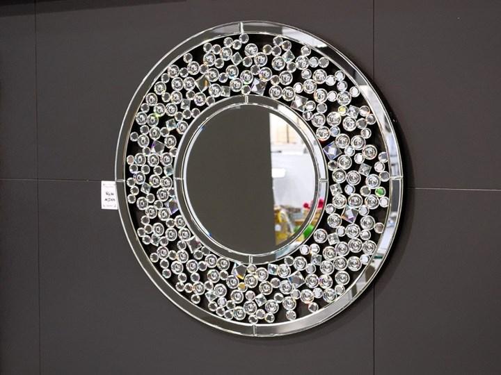 Lustro z kryształkami Angelitta Cristall okrągłe Kolor Srebrny Lustro bez ramy Ścienne Pomieszczenie Przedpokój