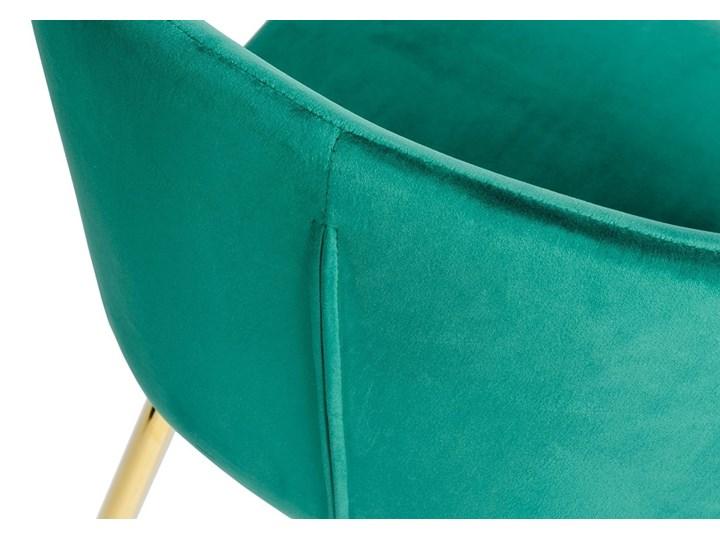 Krzesło MANTIS  zielony aksamit , nogi złote Szerokość 55 cm Metal Głębokość 53 cm Tapicerowane Tkanina Wysokość 76 cm Welur Kolor Złoty