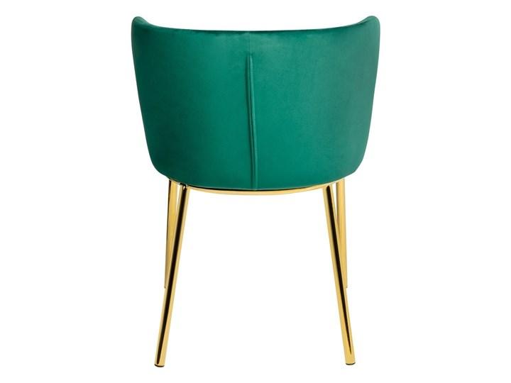 Krzesło MANTIS  zielony aksamit , nogi złote Tkanina Wysokość 76 cm Metal Głębokość 53 cm Kategoria Krzesła kuchenne Tapicerowane Szerokość 55 cm Welur Kolor Złoty