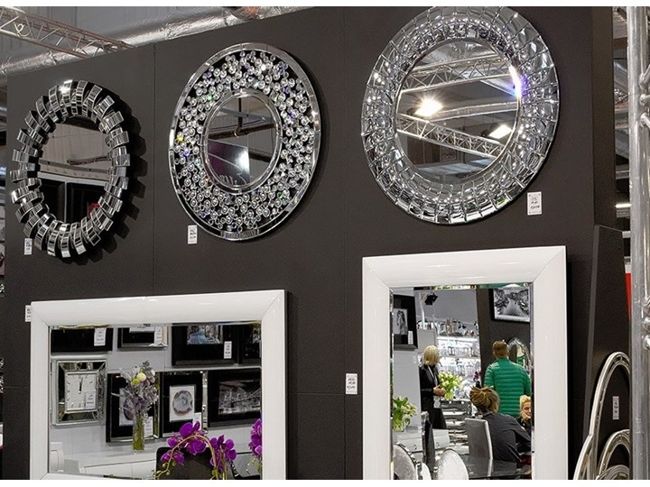Lustro z kryształkami Angelitta Cristall okrągłe Ścienne Pomieszczenie Przedpokój Lustro bez ramy Kolor Srebrny