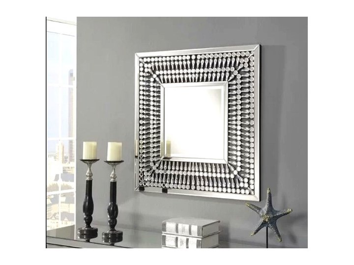 Lustro z  kryształkami Careo Cristall Pomieszczenie Przedpokój Prostokątne Lustro bez ramy Ścienne Pomieszczenie Sypialnia