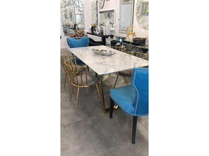 Stół MADERA GLAMUR Marmur Gold 160 x 80 Wysokość 75 cm Długość 160 cm  Szerokość 80 cm Stal Styl Nowoczesny Pomieszczenie Stoły do salonu