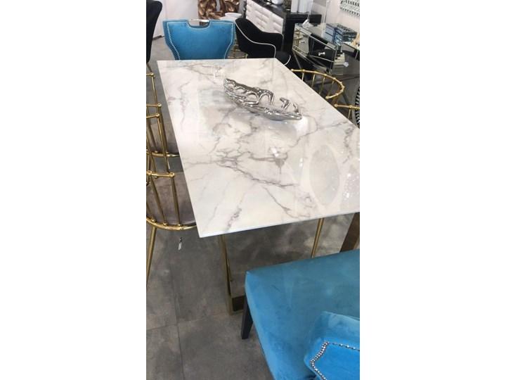 Stół MADERA GLAMUR Marmur Gold 160 x 80 Wysokość 75 cm Długość 160 cm  Szerokość 80 cm Stal Styl Nowoczesny