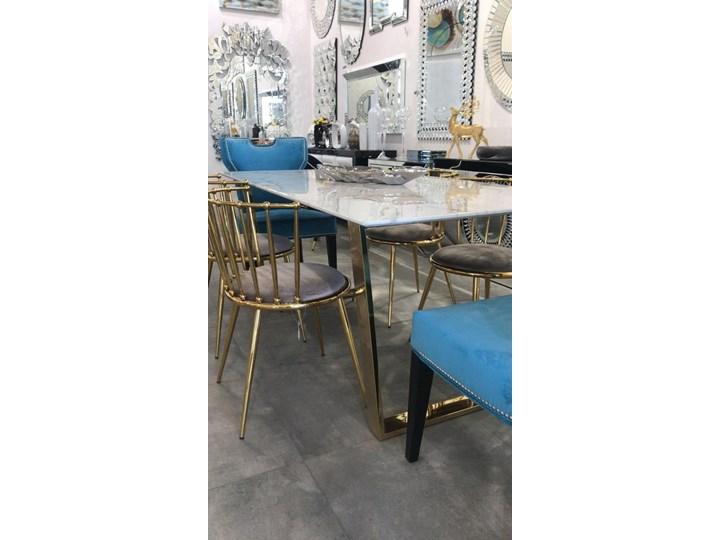 Stół MADERA GLAMUR Marmur Gold 160 x 80 Wysokość 75 cm Stal Szerokość 80 cm Kolor Złoty Długość 160 cm  Rozkładanie