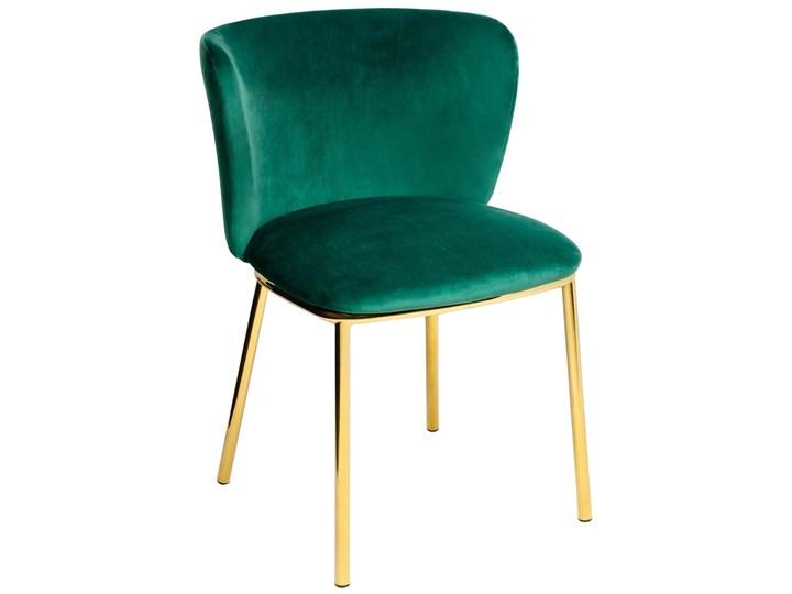 Krzesło MANTIS  zielony aksamit , nogi złote Welur Tapicerowane Kolor Złoty Głębokość 53 cm Tkanina Wysokość 76 cm Szerokość 55 cm Metal Kategoria Krzesła kuchenne