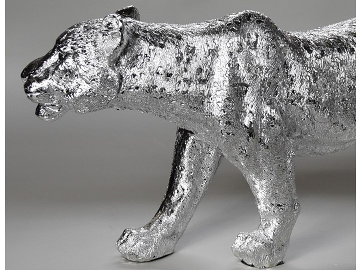 Srebrna figura lwicy 52 x 14 x 25 cm Żywica Zwierzęta Kolor Srebrny