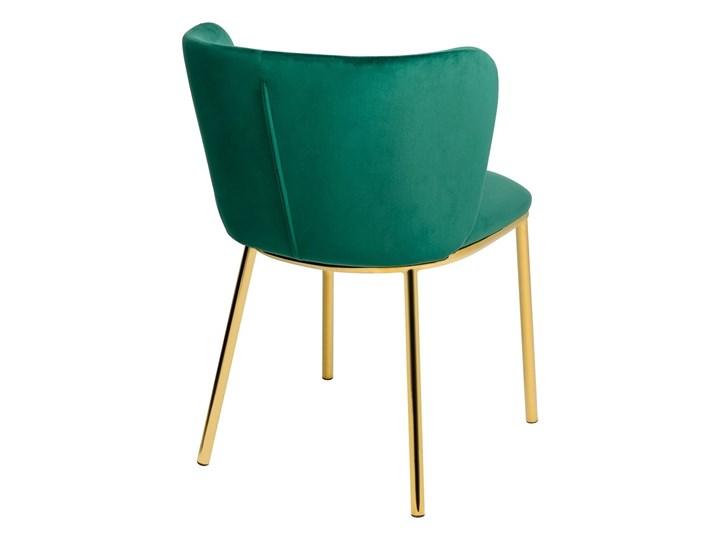 Krzesło MANTIS  zielony aksamit , nogi złote Metal Welur Tkanina Wysokość 76 cm Głębokość 53 cm Tapicerowane Szerokość 55 cm Styl Nowoczesny