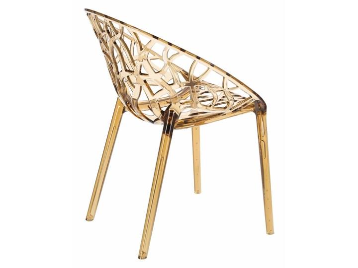 Krzesło Coral bursztynowe Styl Glamour Wysokość 80 cm Głębokość 60 cm Szerokość 59 cm Styl Industrialny