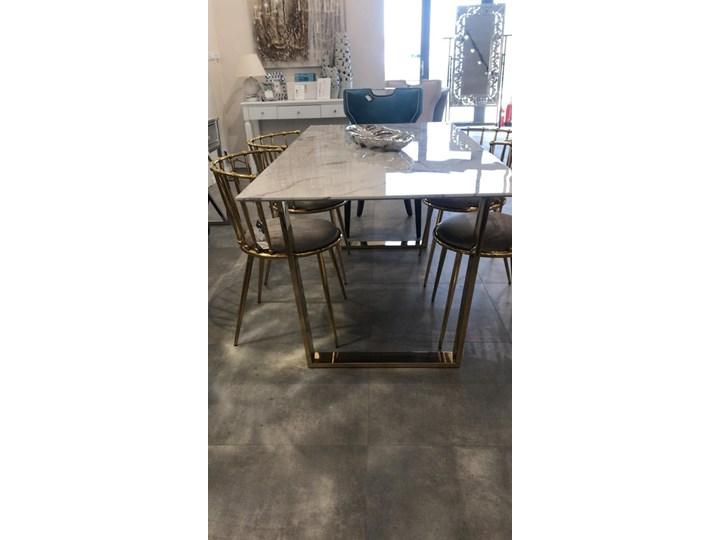 Stół MADERA GLAMUR Marmur Gold 160 x 80 Wysokość 75 cm Stal Długość 160 cm  Szerokość 80 cm Styl Glamour