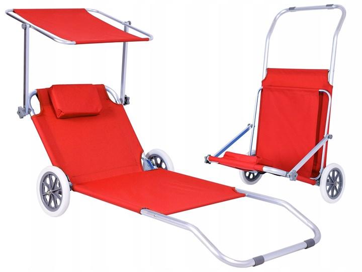 Leżak plażowy z kółkami Martin - RED
